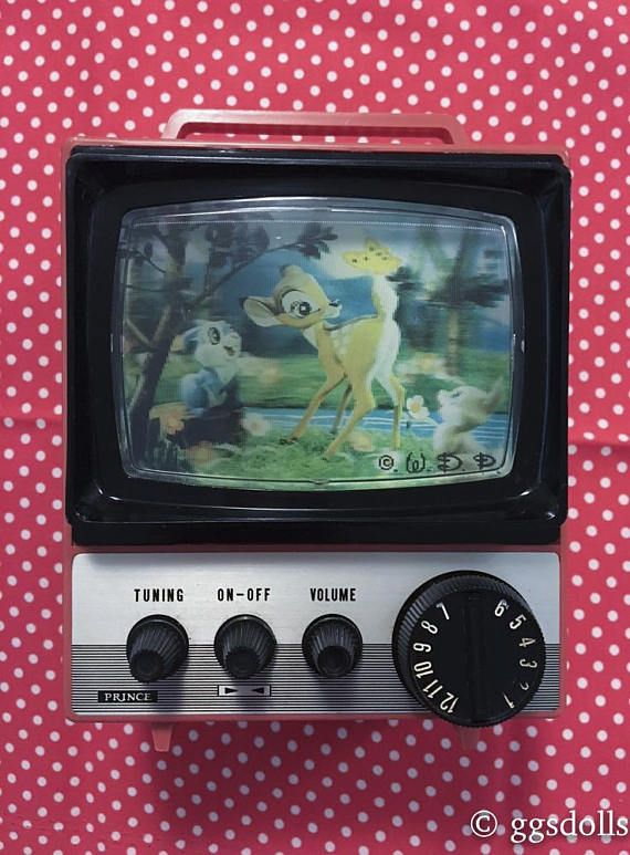 Elegant Vtg Rare Japan Sankyo Red Disney Bambi Mid Century Tv Set Music Box  Coin Bank With Retro Tv Bnk