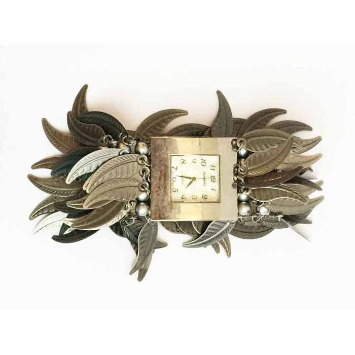 Metal Feather Cuff Watch