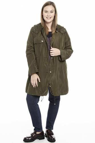 Prezzi e Sconti: #Parka con cappuccio in pizzo Verde militare  ad Euro 124.00 in #Paglia #Cappotti e giacche giacconi