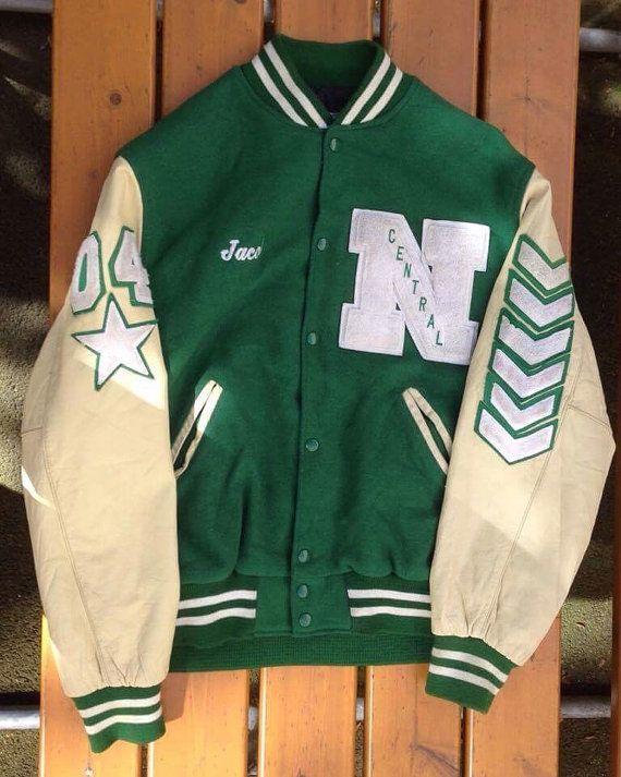 Vintage baseball jacket green wool/leather EV48