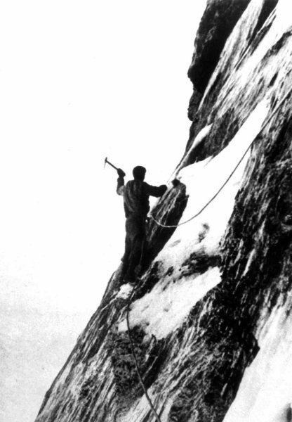 """Austrian climber Heinrich Harrer was a member of the team of four that first got to the top of the notorious Eiger North Face on July 24, 1938 (shown here). The German term for the north face is Nordwand, or """"north wall,"""" and the climbers who have gone to their graves trying to climb it have given it the nickname Mordwand, or """"murder(ous) wall."""""""