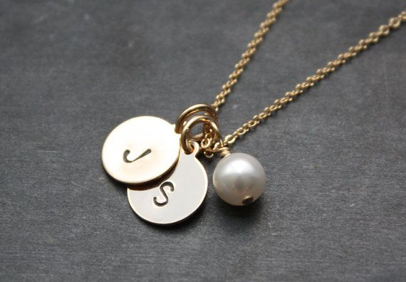 Two Gold Initial Charms Necklace - Two Custom Discs With Accenting Pearl Pendant on Etsy, $35.00
