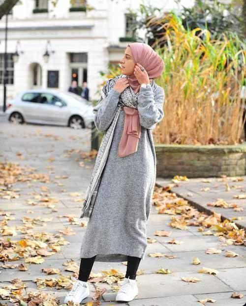 Winter knitted dress with hijab-Winter outwears with hijab – Just Trendy Girls