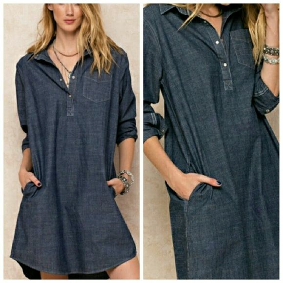 **Coming Soon** DENIM SHIRT DRESS IS A COVETABLE CLASSIC. IT'S COMPLETE WITH BASIC COLLAR. 4 BUTTON FRONT AND CHEST PATCH POCKET AND SIDE POCKET Dresses