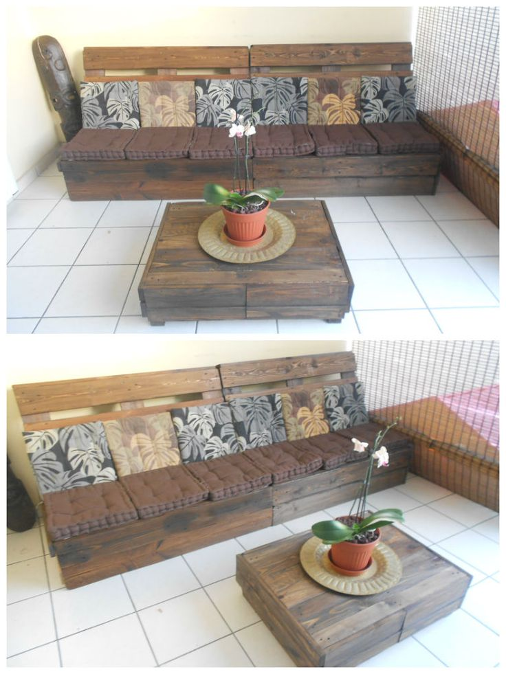 Canapé et table basse / Sofa and coffee table #CoffeeTable, #Furnitures, #Upcycled