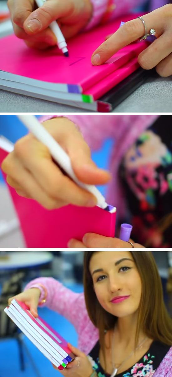 Color Code Notebooks With Markers | Click Pic for 20 DIY Life Hacks for Girls for School | Life Hacks for College Students