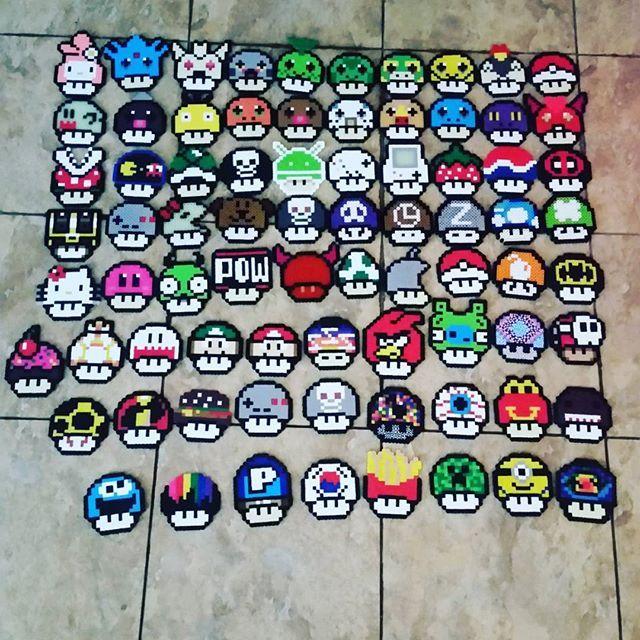 Mario mushroom collection perler beads by mrkennyyy perler,hama,square pegboard,video games,nintendo, super mario bros,mushroom,