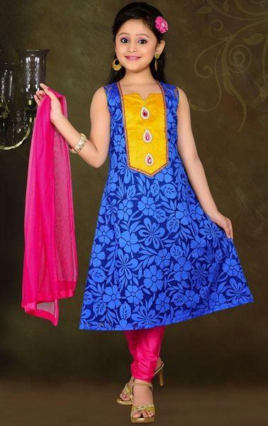 Picture of Unique Blue Color Kids Salwar Kameez