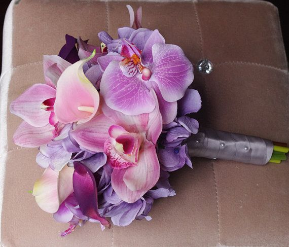 Officially my bridal bouquet! Love it!!  Wedding Purple Mix of Pink and Lilac Natural Touch by Wedideas etsy. Destination wedding beach wedding