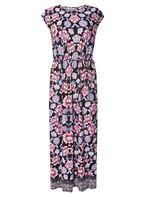 Womens Petite Multi Coloured Floral Border Maxi Dress- Black