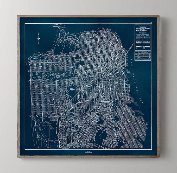 San Francisco Map Vintage San Francisco California