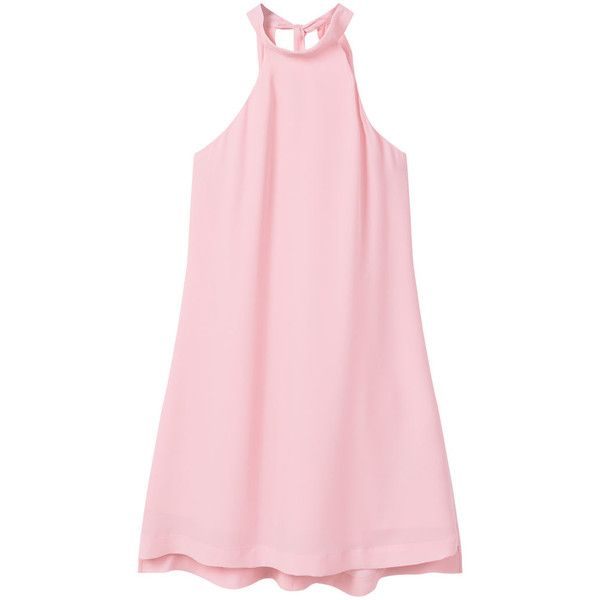 Halter Neck Dress ($35) ❤ liked on Polyvore featuring dresses, pink halter top dress, pink halter dress, lined dress, halter strap dress and halter-neck dresses