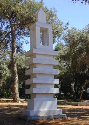 """Tower"". 2006.  Marble.  340 x 90 x 60 cm.  Hakfar-Hyarok, Israel."