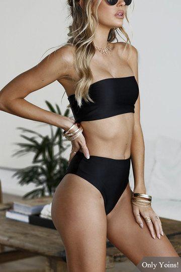 Black Casual Sleeveless Tube Top Bikini Set