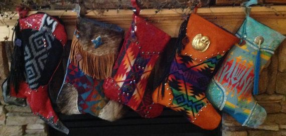 SouthWestern Christmas stockings Using Pendelton Wool and Vintage FIndings - DoubleJOriginals