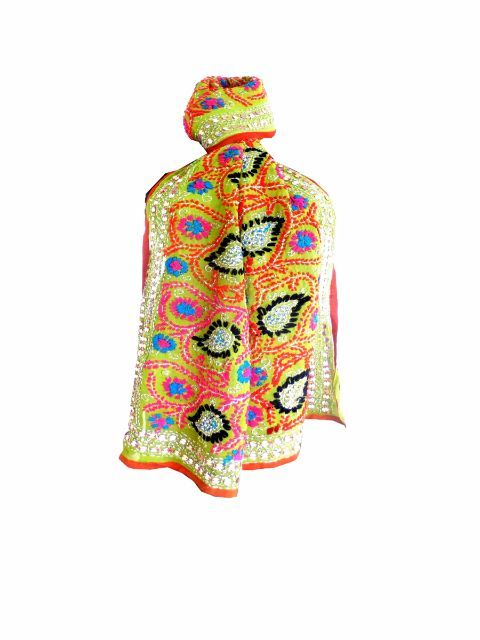 Georgette Phulkari Stole - Lime Green:Giftpiper.com-This stunning georgette phulkari stole is hand-embroidered with wool in the karachi jaal pattern,