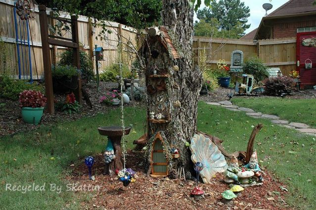 Sherry law 39 s miniature tree house from a stump from flea for Garden law trees