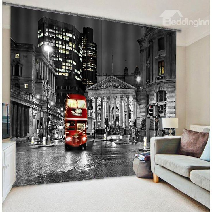 3D Night City Bus Printed Polyester Modern Style Decoration And Blackout Curtain Curtains On SaleWindow CurtainsLiving Room