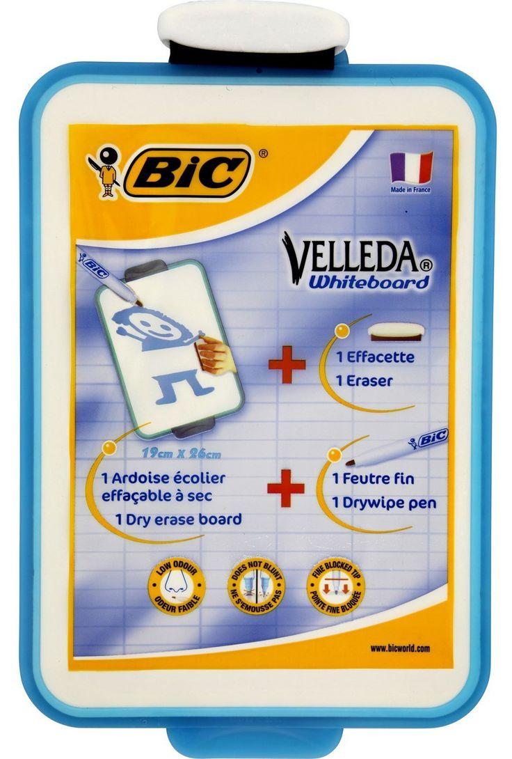 Bic pizarra velleda+rotulador - Dimension 26x19cm, pizarra escolar doble cara (lisa y cuadros): Amazon.es: Oficina y papelería