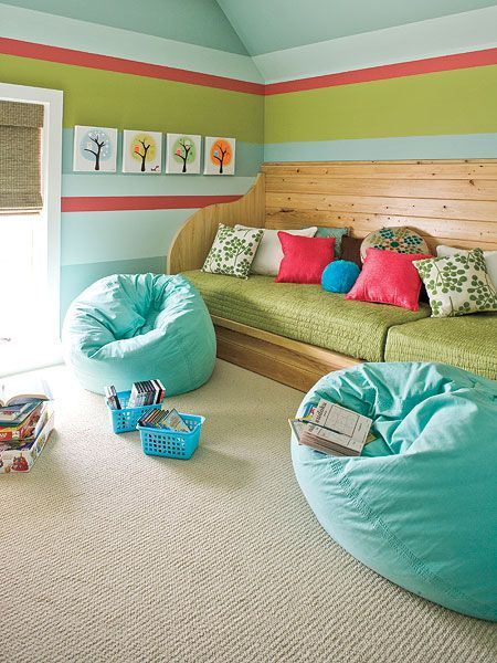 future play room idea. build low cabinets then put two twin mattresses on top to have seating or guest bed