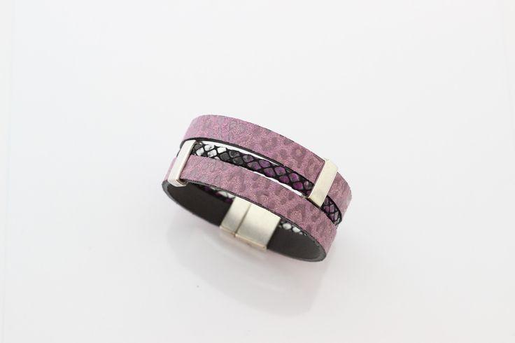 Bracelet Cuirs Lilas impression Guépard Cuir motif écaille Violet passants étain (Taille personnalisabe à la commande) : Bracelet par creea2-atelier
