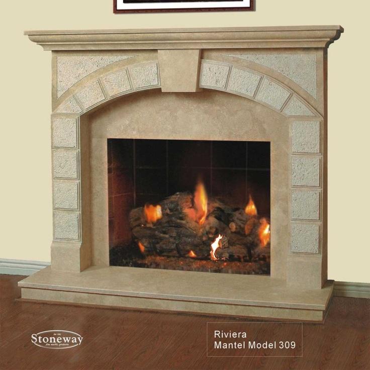two way fireplaces   ... Model 309 - Natural Travertine Fireplace Mantel - Stoneway Mantels