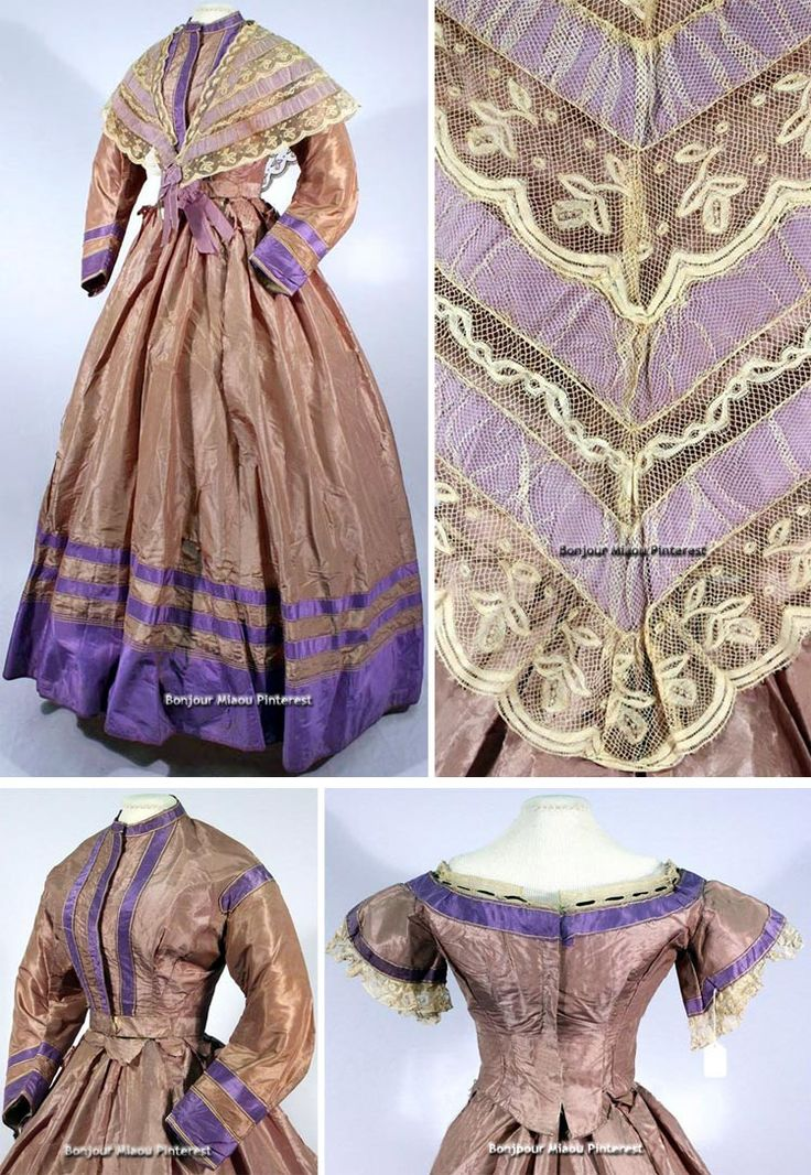Brown and purple ensemble from the 1860s, with two bodices, a skirt, and a fichu. Univ. of Georgia Historic Clothing & Textile Collection Facebook