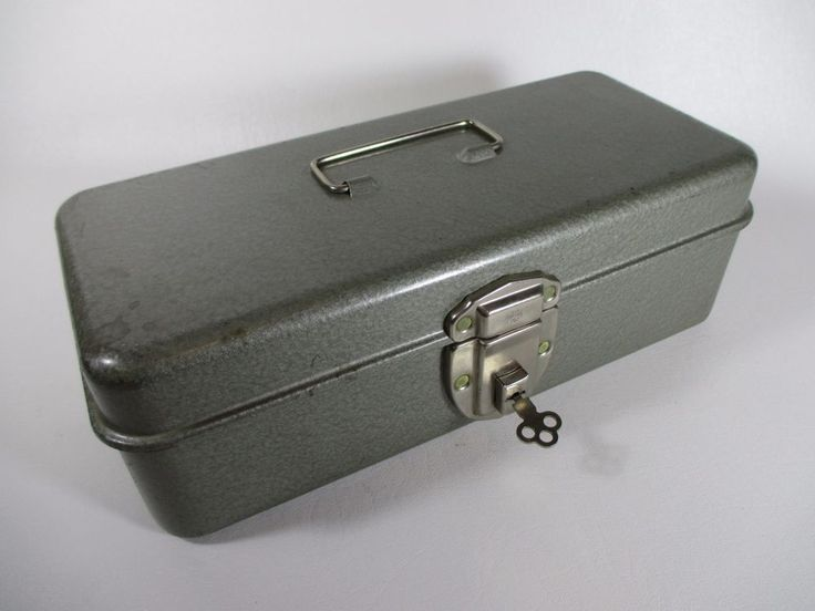 Vtg Industrial SWANCO Silver Metal Tool Box w/ Lock & Key Locking Storage Files