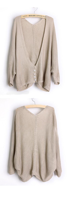 Loose Bat Sleeve Beige Sweater