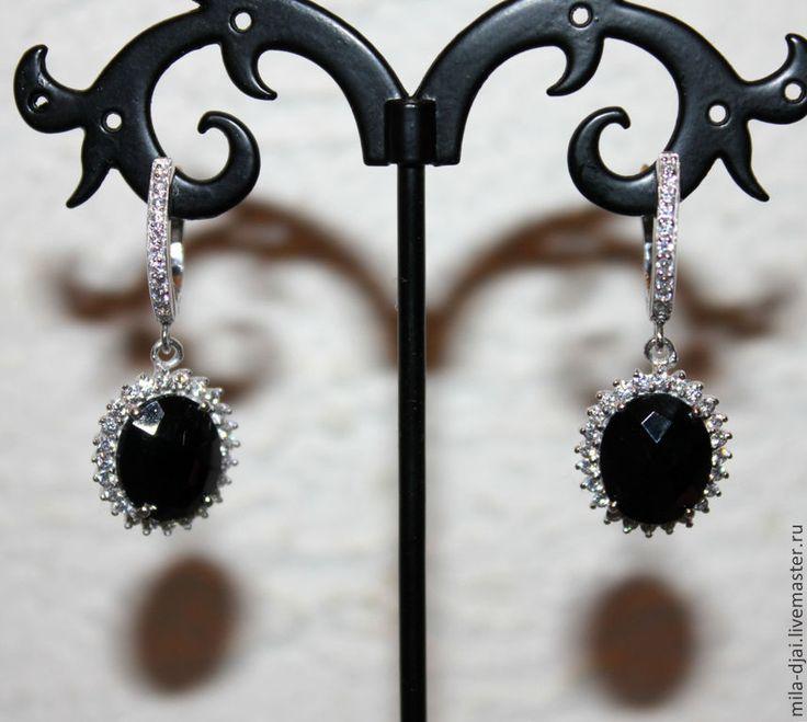 """Купить Гарнитур """"Черная малинка"""" оникс в серебре - натуральные камни, серебро 925 пробы"""