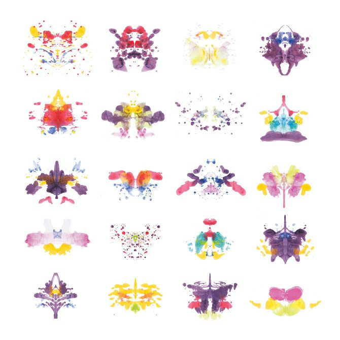 Rorschach Rorschach: ink patterns by Lara Loi The bi-symmetrical result of Rorschach panels always lends to an insect-like form.