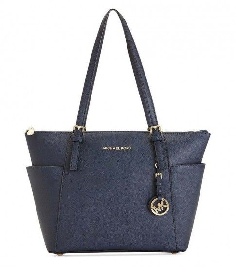 Navy Blue Top Zip Tote