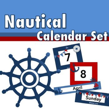"This brightly colored nautical themed calendar set features 31 numbered squares, 5 blank squares, 7 days of the week labels, and 12 month labels.When printed at 100%:     Each square measures 3"" x 2.5""     Each day of the week label measures 3"" x 1""     Each month label measures 10.75"" x approx 2""Check out my other Nautical themed products!Nautical Classroom Job SignsNautical Classroom Subject LabelsNautical Name PlatesNautical Brag TagsNautical Bulletin Board CutoutsTerms of UseCopyright…"