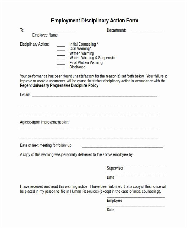 Pin On Employee Disciplinary Action Form New Sample Action Form 15 Free Documents In Doc Pdf