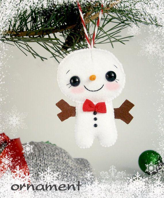 Christmas Snowman ornament felt Christmas decor by MyMagicFelt