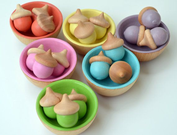 Wooden Stacking Bowls - Pastel Rainbow on Etsy, $23.00