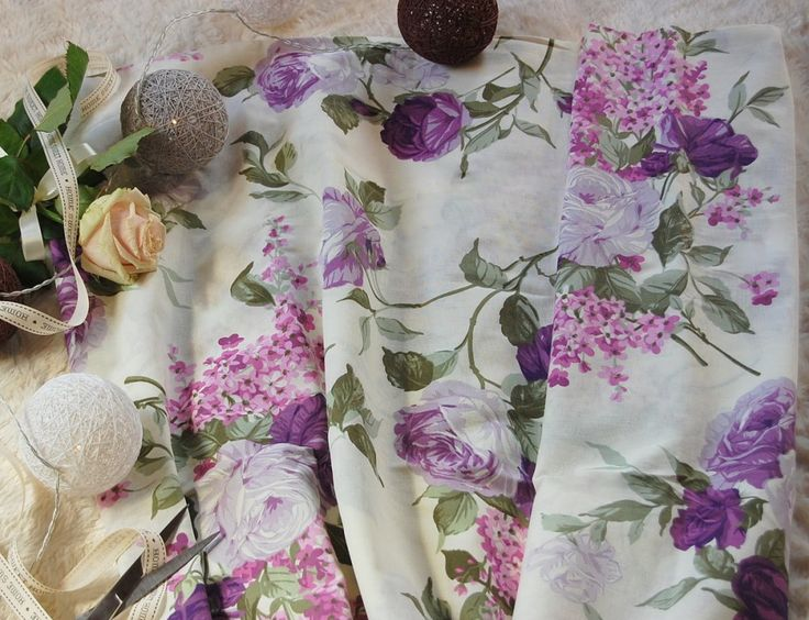 Tkanina bawełniana fioletowe róże  Fabric purple roses