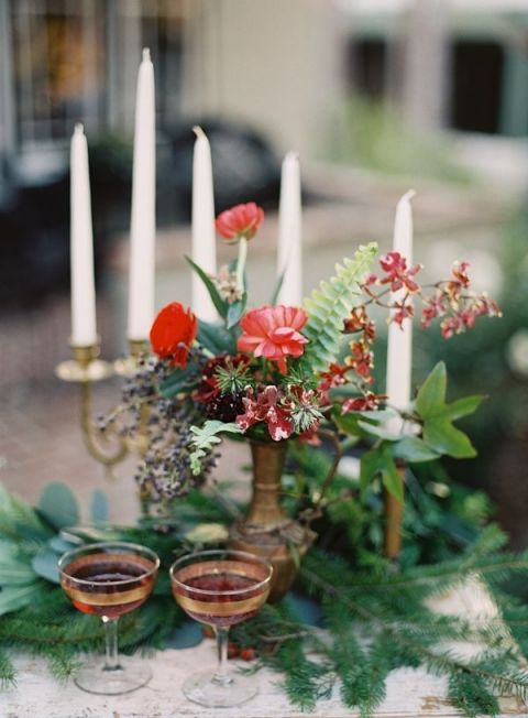 Vintage Holiday Table Decor   Michael Radford Photography   A Vintage Christmas Wedding with Traditional English Styling