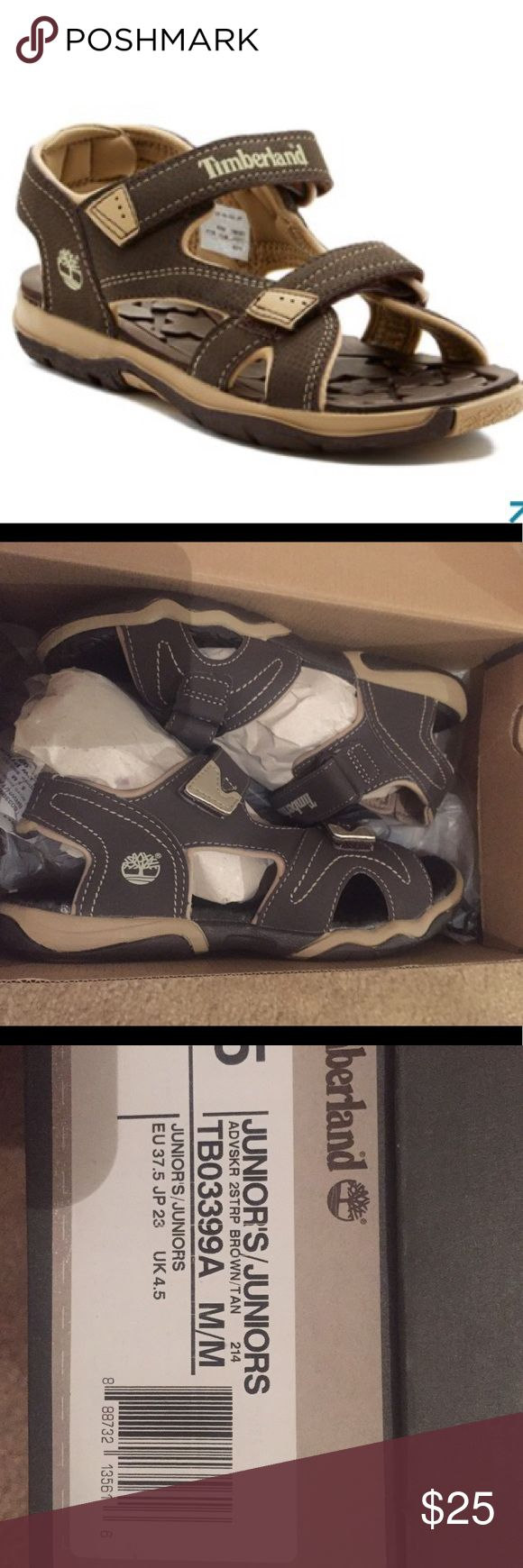 Timberland sandals New. Excellent condition, will come in original packaging. This is juniors boys so I believe a woman's size 6.5/7 will fit bc I'm an 8.5 and I need a little room on both ends. Color is a grey taupe shade. This is certainly a gender neutral shoe. Timberland Shoes