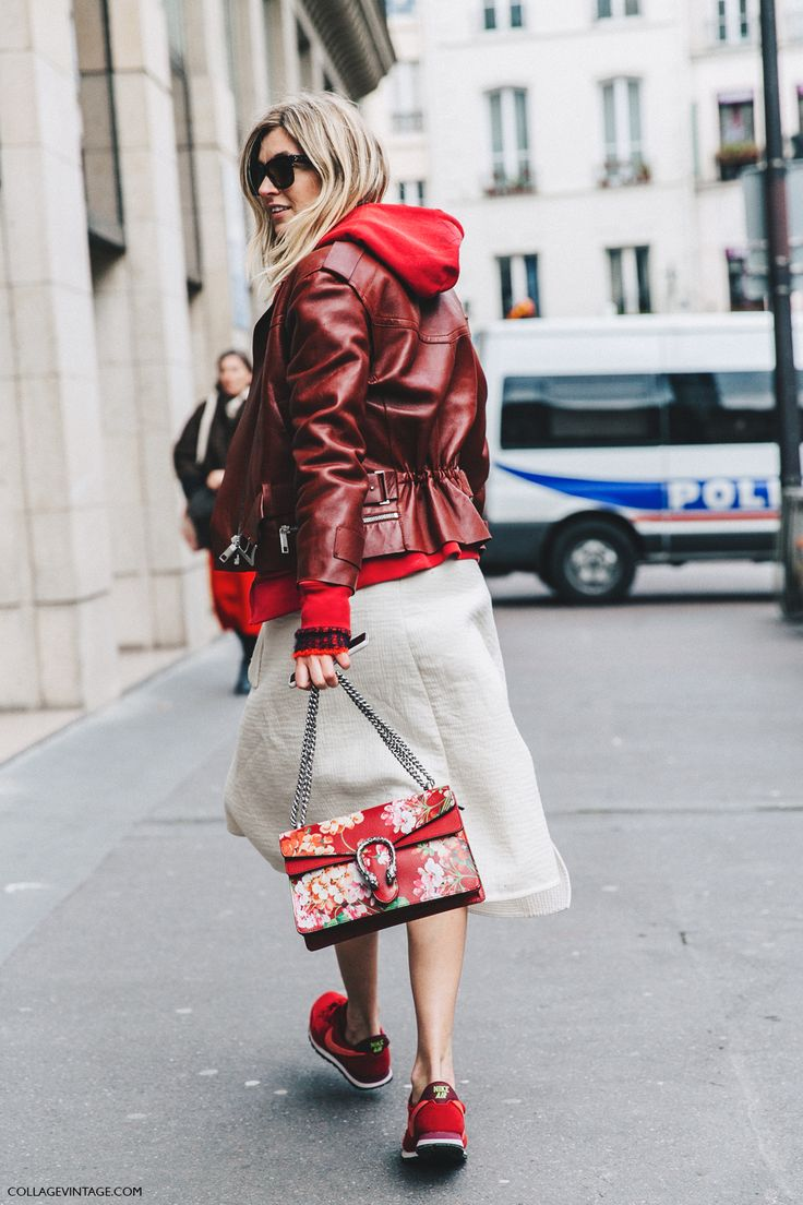 PFW-Paris_Fashion_Week_Fall_2016-Street_Style-Collage_Vintage-Camille-Midi_Skirt-Sneakers-Biker_Jacket-Gucci_Red-1