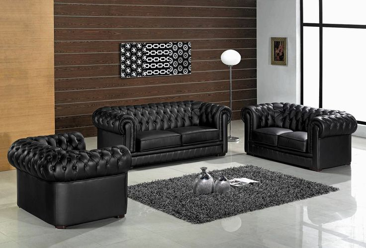 leather living room set with wood trim