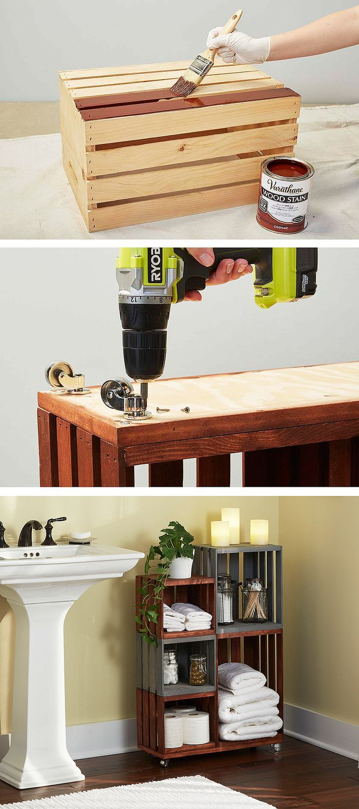PALLET | Turn ordinary wooden crates into cool bathroom storage on wheels. Just follow our step-by-step tutorial.