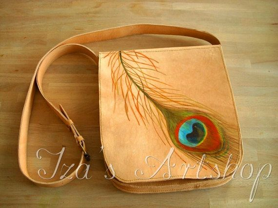 DYING. tanned leather hand painted peacock feather side purse. Peacocks and purses-two things I love!
