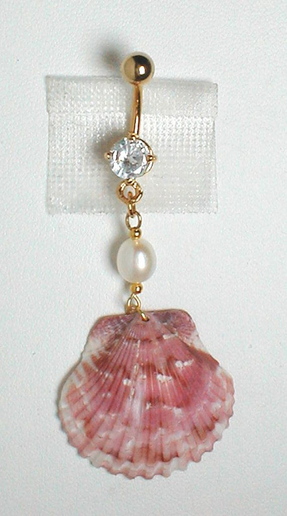 Unique Belly Ring Seashell W Freshwater Pearl Nice