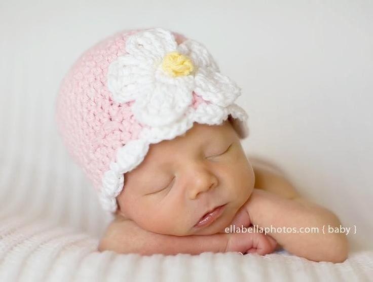Daisy Crochet Baby Hat Pattern : Crochet Hat Pattern Baby Crochet Hat Daisy Flower Flapper ...