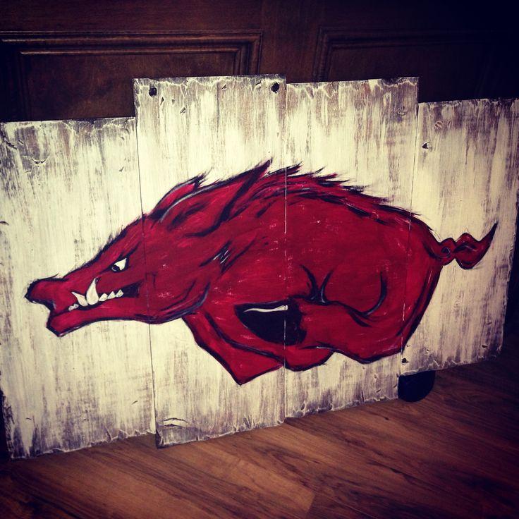 Handmade razorback sign. Woo pigs!