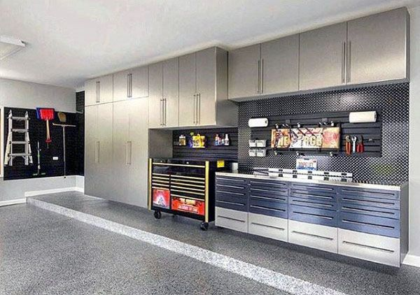 Manly Garage Designs With Cool Wall Storage Cabinets And Slat