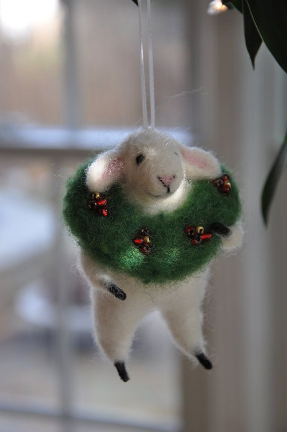This adorable little sheep is ready for the tree with his wreath necklace! Wreath is decorated with red and gold beads. www.etsy.com/shop/creationsfrompassion