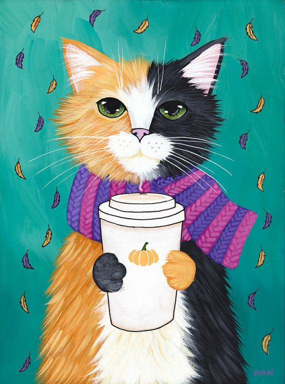 Autumn Pumpkin Coffee Cat  Original Folk Art Painting by KilkennycatArt