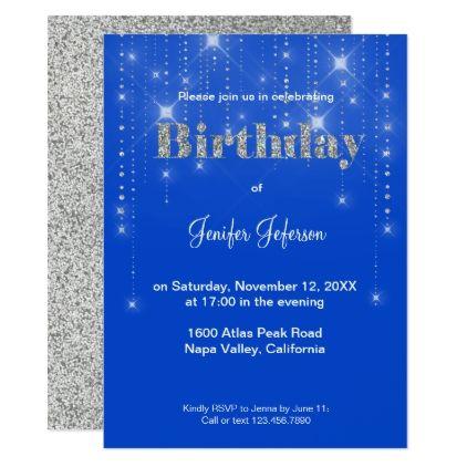 Glitter pattern Birthday Invitation - birthday gifts party celebration custom gift ideas diy